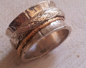 Spinner rings Meditation Ring for man and woman. Spin ring. Designer ring silver and 9 carat gold