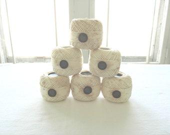 Kloster Crochet Cotton . Antique Cotton .  White Embroidery Thread . 1920's .  Ivory Cream