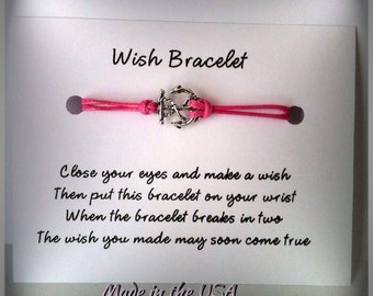 Anchor Wish Bracelet, Charm Bracelet, Friendship Bracelet