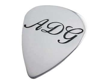 Personalized Silver Monogrammed Guitar Pick Hand Stamped Initials Commemorative Dad Jewelry Engraved Artisan Handmade Fine Designer Fashion