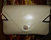 """Vintage 90's - Designer Lotte - Bone - Leather  - Embellished - Shoulder Bag - Purse -  size = 10.5"""" x  6.5"""" x  3.75"""""""