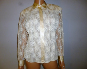 "Sheer Genius -  Vintage 80's - Pierre Cardin - Cream - Sheer - Lace Floral - Silk Trim - Button Front - Long Sleeve - size 6 - 36"" bust"