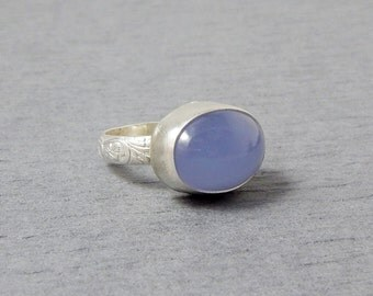 Sterling Silver and Purple Chalcedony Ring size 7