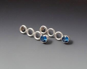 Sterling Silver, Blue Zircon Post Earrings