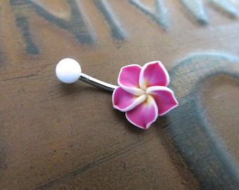 Belly Button Ring Jewelry.  Magenta Hawaiian Flower Belly Button Ring Hawaii Navel Stud Jewelry Bar Barbell Piercing Pink Tropical Hibiscus