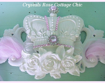 Beautiful Shabby Chic Bed Crown Canopy / Pediment Chippy White Roses