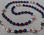Baseball Rosary Upscale Red White Blue American Baseball Silver Middle Medal and Crucifix Classic