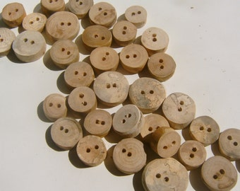 Wooden Button Assotment 50 Small buttons .25 to 1 inch