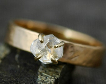 Transparent Raw Diamond on Wide Recycled Gold Band- Custom Made Engagement Ring