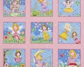FAIRY Labels #1040 by Andover Fabrics by the yard pink fairies castles rainbows