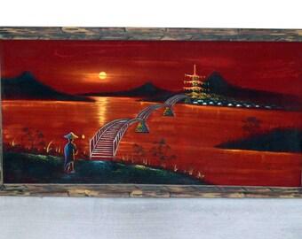 Vintage Velvet Painting of Asian Pagoda and Bridge Scene / Kitsch Velvet Art