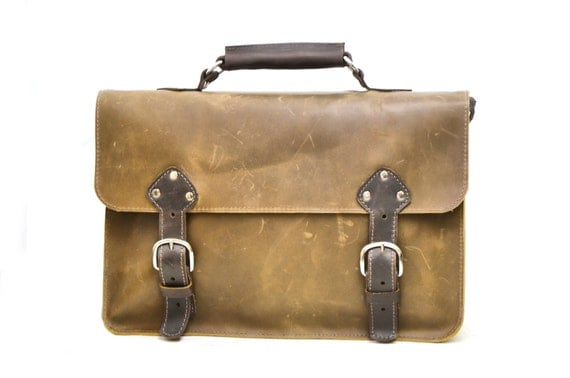 Large Men's Leather Satchel - Industrial Briefcase Carryall in Brown