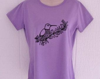 Hummingbird in Rosemary Ladies T Shirt in Lavender