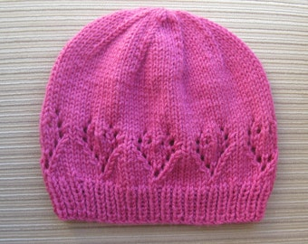 Knitting Pattern #144 Hat with Lacy Hearts in Size Adult