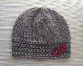 Instant Download Knitting Pattern #146 Taupe Hat with Crochet Flowers in Size Adult