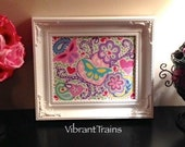 SALE 8 x 10 Hand Painted Canvas Heart Flower and Butterfly Wall Art Decor for Children and Adults Keepsake Gift by Vibrant Trains