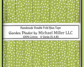"""Double Fold Bias Tape - """"Apple"""" Garden Pindots from Michael Miller"""