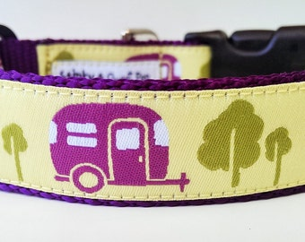 The Happy Camper - Dog Collar / Pet Accessories / Handmade / Adjustable / Camping / Gift Idea / Pet Lover