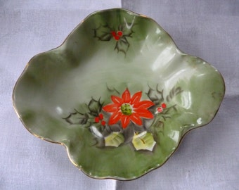 Vintage LEFTON Limited Edition Poinsettia Holly Bowl, ChristmasCollectible