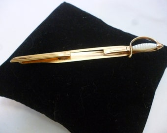 Vintage SWANK Excalibur Sword Tie Bar With Faux Mother of Pearl Handle
