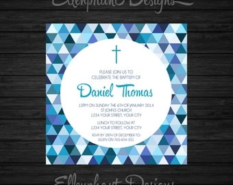Boy's Christening Invitation, blue, geometric, baptism, first communion, square, custom invite, digital file, you print