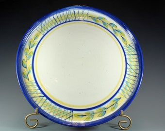 Handmade Pottery Plate or Platter, Blue Banded Handpainted Pottery Plate