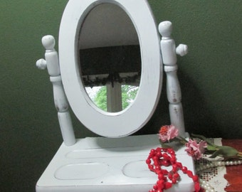 Upcycled Valet Tilting Mirror Dresser Top Distressed White
