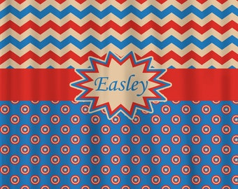 Personalized Shower Curtain -Hero Inspired Theme- shown here Blue, Red, Lt Tan, Yellow - also towels available