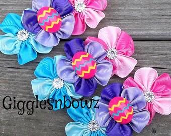 EASTeR CoLLeCTiON- Set of 3 Embellished Grosgrain CLuSTeR Flower- EaSTeR EGG- 4 inch Size