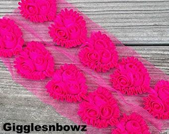 PeTiTE SHaBBY CHiFFoN HEART Appliques / Set Of 10 / 2 Inch- SHoCKiNG PiNK- Chiffon Flowers- Headband Supplies- Diy Valentines Flowers