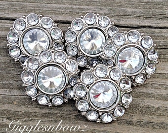 Brand New Set of FIVE Acrylic Rhinestone Buttons NEW Size-18MM Clear