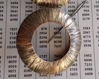 Large Brass Circle Earrings, Sculptural Textural Open Center Domed Black Patina Stylish Urban Metalsmith Handwrought Artisan Earrings