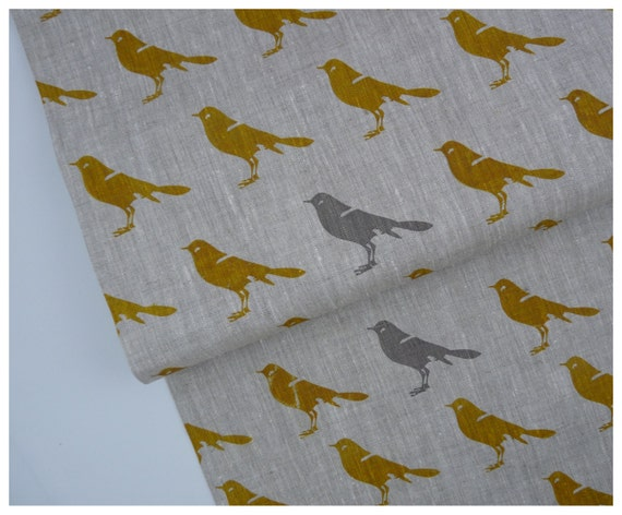 Linen by the yard - Mustard and gray bird hand printed by celina mancurti - Free Shipping to USA