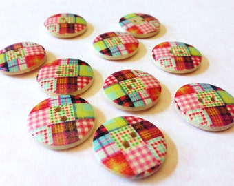 Painted wood buttons, 10 pcs, patchwork pattern wooden buttons, sew through matching round buttons, 20 mm, pink, red, blue, green, A059
