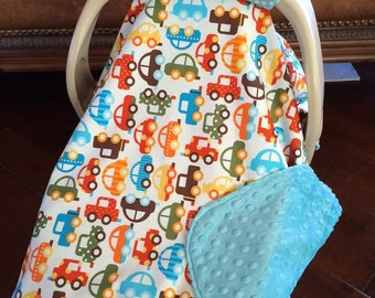 Baby Boy Car Seat Cover - CARS - with Teal Minky