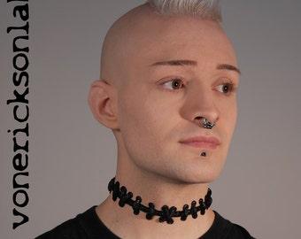 Frankenstein Zombie  Jewelry -  All Black  Stitches  Necklace Choker - Extreme stitch