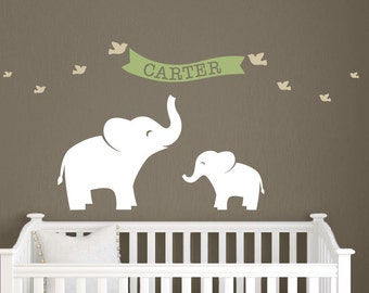 Children Name Decal - Elephant Name Decal Set - Baby Name Wall Decal - Elephant Decal - Bird Stickers