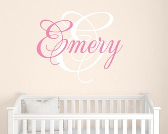 Personalized Name Decal Set, Baby Girl Name Decal, Nursery Decor, Bedroom Wall Decal, Girls Bedroom Decor, You choose colors