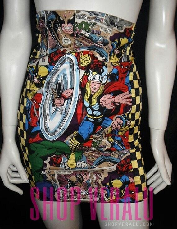 High Waist Pencil skirt   HEART MARVEL  Thor Comic con,,Cosplay