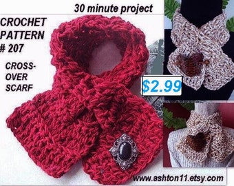 INSTANT DOWNLOAD Crochet Pattern PDF 207 30-Minute Project Beginner Level-Cross Over Scarf