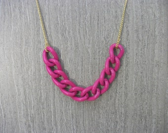 Neon Pink and Gold Chain Blogger Style Necklace  -Pink Chain Necklace