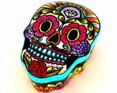 Ceramic Sugar Skull Box Painted Day of the Dead Halloween Dia de los Muertos Jewelry Box Sacred Heart Home Decor -READY TO SHIP