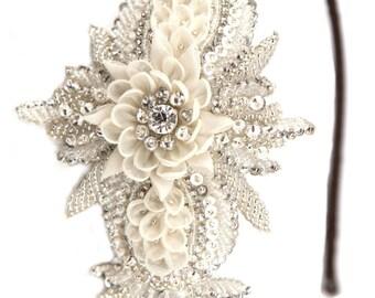 Bridal headband, Silver beaded, bridal headpiece, flower bridal headband, wedding hair piece, pearl bridal hair accessories, vintage