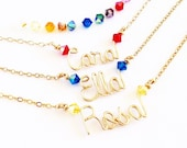 Gold Child Name Necklace. Gold Little Girls Name Necklace with Swarovski Crystals.