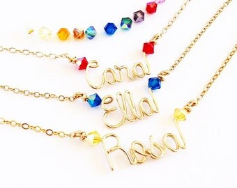 Gold Child Name Necklace. Gold Little Girls Name Necklace with Swarovski Crystals. Toddler Girl Teen Girl Gift. Teen Gift Under 100