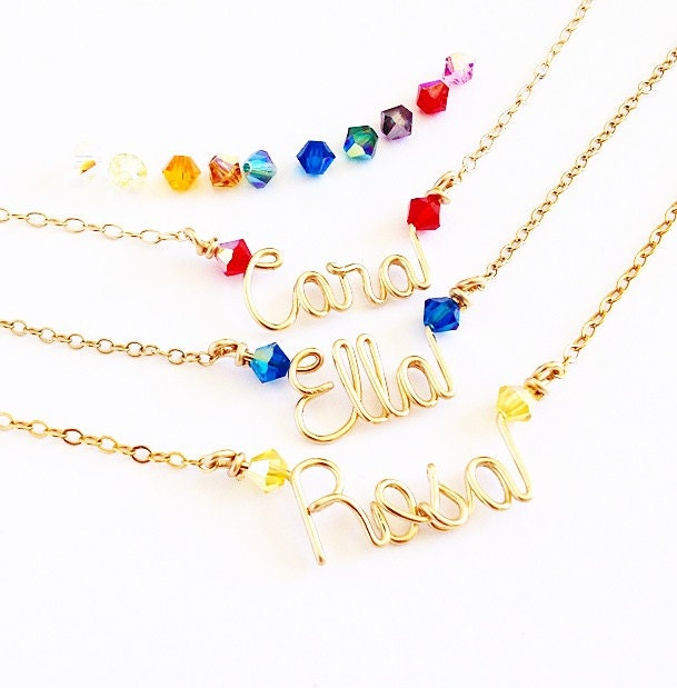 gold child name necklace gold name necklace with