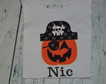 Personalized  Pirate Pumpkin Shirt or Bodysuit