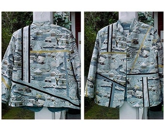 Oriental winter scene fractured and quilted jacket in pale blues, black and golds