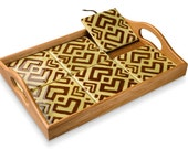 Sage Mudcloth Two-Way Tile Tray