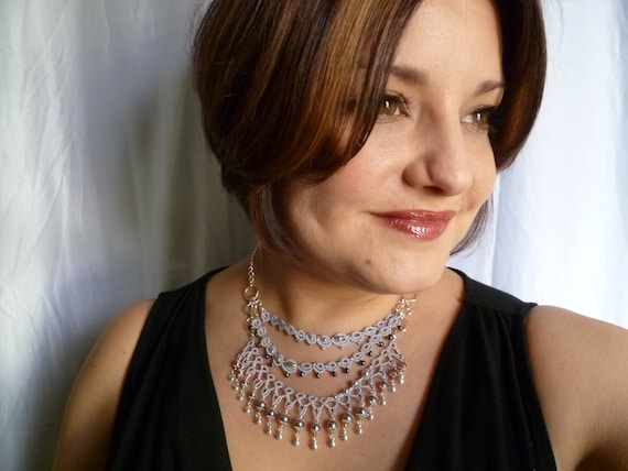 Lace Tatted Necklace with Sterling and glass pearls -J Kohr Couture Enchanted